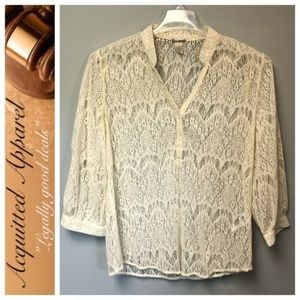 Lucky Brand VINTAGE Lace Popover Top Cream